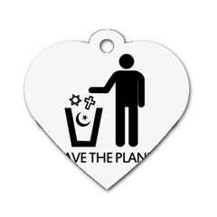 Save The Planet   Religions  Dog Tag Heart (two Sides)