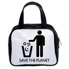 Save The Planet   Religions  Classic Handbags (2 Sides)