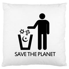 Save The Planet   Religions  Large Flano Cushion Case (one Side)