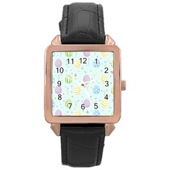 Easter Pattern Rose Gold Leather Watch