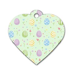 Easter Pattern Dog Tag Heart (two Sides)