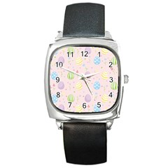 Easter Pattern Square Metal Watch