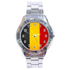 Belgium Flag Stainless Steel Analogue Watch