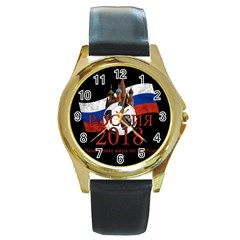 Russia Football World Cup Round Gold Metal Watch
