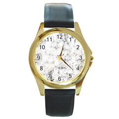Grunge Pattern Round Gold Metal Watch