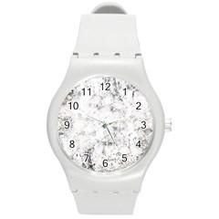 Grunge Pattern Round Plastic Sport Watch (m)