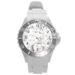 Grunge Pattern Round Plastic Sport Watch (l)