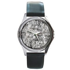 Grunge Pattern Round Metal Watch