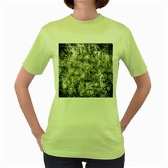 Grunge Pattern Women s Green T Shirt