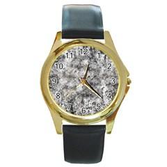 Grunge Pattern Round Gold Metal Watch