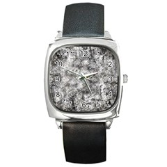 Grunge Pattern Square Metal Watch