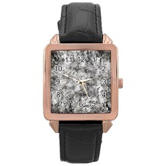 Grunge Pattern Rose Gold Leather Watch