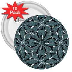Modern Oriental Ornate Pattern 3  Buttons (10 Pack)
