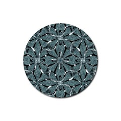 Modern Oriental Ornate Pattern Rubber Round Coaster (4 Pack)