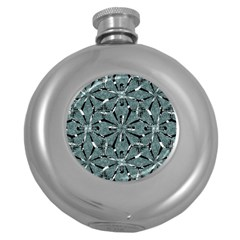 Modern Oriental Ornate Pattern Round Hip Flask (5 Oz)