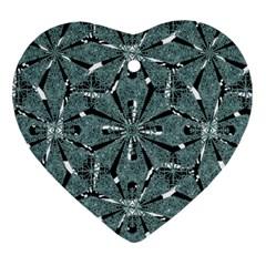 Modern Oriental Ornate Pattern Heart Ornament (two Sides)