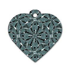 Modern Oriental Ornate Pattern Dog Tag Heart (two Sides)
