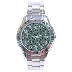 Modern Oriental Ornate Pattern Stainless Steel Analogue Watch