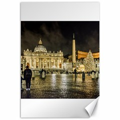 Saint Peters Basilica Winter Night Scene, Rome, Italy Canvas 12  X 18