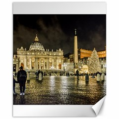 Saint Peters Basilica Winter Night Scene, Rome, Italy Canvas 11  X 14