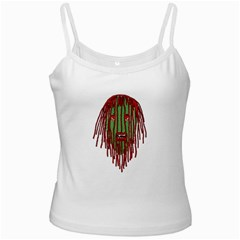Long Hair Monster Portait Drawing White Spaghetti Tank