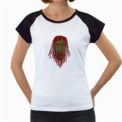 Long Hair Monster Portait Drawing Women s Cap Sleeve T