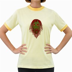 Long Hair Monster Portait Drawing Women s Fitted Ringer T Shirts