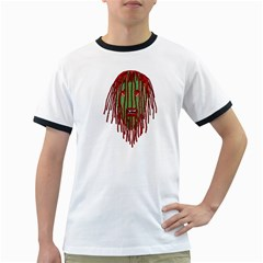 Long Hair Monster Portait Drawing Ringer T Shirts