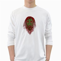 Long Hair Monster Portait Drawing White Long Sleeve T Shirts