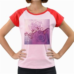 Wonderful Soft Violet Roses With Hearts Women s Cap Sleeve T Shirt