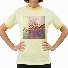 Wonderful Soft Violet Roses With Hearts Women s Fitted Ringer T Shirts
