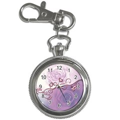 Wonderful Soft Violet Roses With Hearts Key Chain Watches