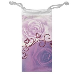 Wonderful Soft Violet Roses With Hearts Jewelry Bag