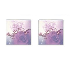 Wonderful Soft Violet Roses With Hearts Cufflinks (square)