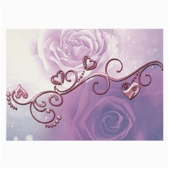 Wonderful Soft Violet Roses With Hearts Large Glasses Cloth