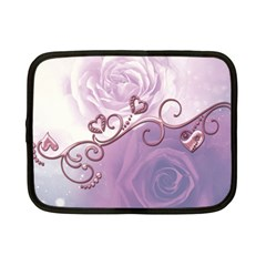 Wonderful Soft Violet Roses With Hearts Netbook Case (small)