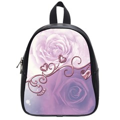 Wonderful Soft Violet Roses With Hearts School Bag (small)