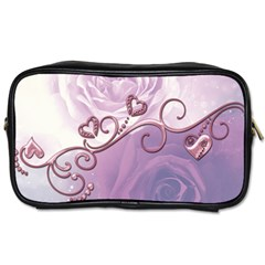 Wonderful Soft Violet Roses With Hearts Toiletries Bags 2 Side