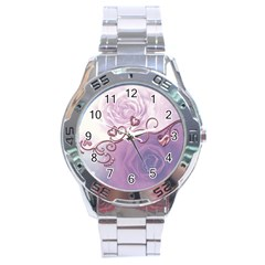 Wonderful Soft Violet Roses With Hearts Stainless Steel Analogue Watch