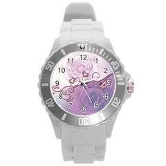 Wonderful Soft Violet Roses With Hearts Round Plastic Sport Watch (l)