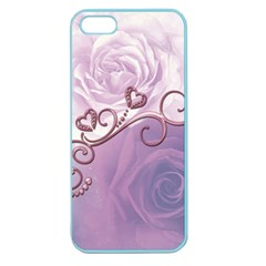 Wonderful Soft Violet Roses With Hearts Apple Seamless Iphone 5 Case (color)