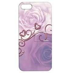 Wonderful Soft Violet Roses With Hearts Apple Iphone 5 Hardshell Case With Stand