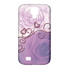 Wonderful Soft Violet Roses With Hearts Samsung Galaxy S4 Classic Hardshell Case (pc+silicone)