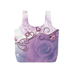 Wonderful Soft Violet Roses With Hearts Full Print Recycle Bags (s)