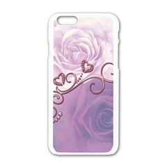 Wonderful Soft Violet Roses With Hearts Apple Iphone 6/6s White Enamel Case