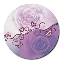 Wonderful Soft Violet Roses With Hearts Round Mousepads
