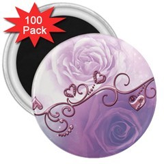 Wonderful Soft Violet Roses With Hearts 3  Magnets (100 Pack)