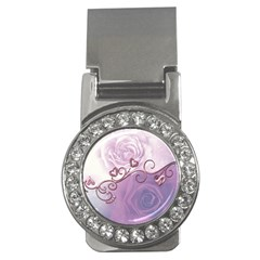 Wonderful Soft Violet Roses With Hearts Money Clips (cz)