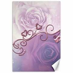 Wonderful Soft Violet Roses With Hearts Canvas 12  X 18