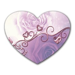 Wonderful Soft Violet Roses With Hearts Heart Mousepads